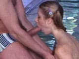 Skinny Girl Pool Blowjob