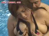 busty japanese fucked in pool part 1