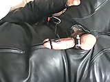 Electro Stim in bike leathers cumshot 1