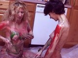 2 hot playmates smear themselves