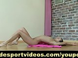 Nude sport gymnast doing exercises