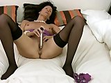 Intense cougar in lingerie masturbation