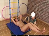 Gym nude training in a lesbian sex mode