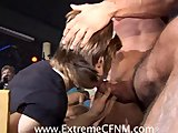 Two GFs cheating fuck a stranger in a club