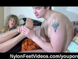 Worshiping of pantyhose feet