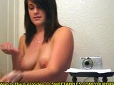 Amateur Greases Up Her Big Tits In Bathroom