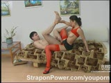 Gorgeous strapon diva assfucking a looser