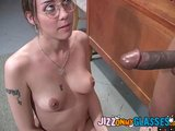 Black Jizz on her Glasses Delilah Strong Facial
