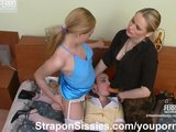 Sissiy guy fucked by two strapon hotties