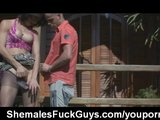Shemale fucks guy outdoor