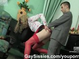 Sissy maid provides anal service