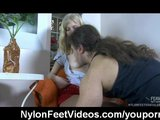 Cumming all over her nylon clad feet