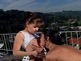 Two hot and horny Lesbians go at it on terrace