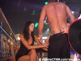 Dirty Girl sucking Male Strippers cock on stage