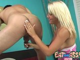 Tan Blonde LICKS ASS butt eating rimjob