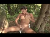 Tranny Masturbates Outdoors