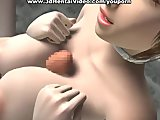 3D girl jerks big cock with enormous boobs