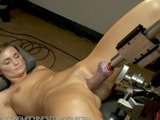 Blond girl machine fucked in ass with pile driver