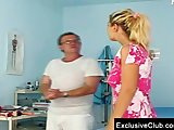 Bambi visiting gyno clinic for pussy speculum exam