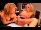 Blonde lovers share a dildo