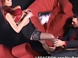 Hot blonde babe gives amazing footjob