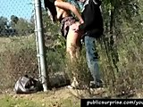 Girl Fucked Hard Outdoors Against A Fence
