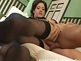 Brunette babe in stockings couch fucked