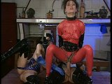 Leather costume threesome with two hot European babes. (Clip)