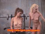 Milf and her Lesbian Trainer at GYM NAKED