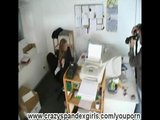 Office girl spreading pussy in lycra