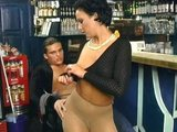 Sexy bartender in pantyhose