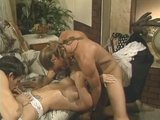 Redheaded doctor&#039;s assistant gets nailed by two guys - Gentlemens Video