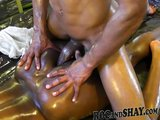 OILED EBONY COUPLE FUCK