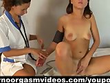 A lesbian doctor gives an orgasm to her patient during gyno check