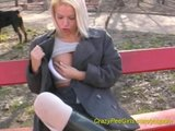 blonde chick pissing in public