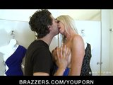 Slutty big-tit blonde MILF fucks hard-dick while bikini shopping