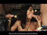Horny brunette slutty babe fucked hard by two dicks in gang-bang