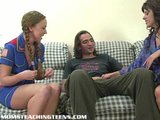 Mom teaching teen how to suck and fuck