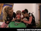 Two bossy and strict office bitches himiliate and fuck a pizza delivery guy