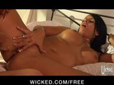 HOT brunette lesbian babe plays with her busty redhead GF in bed