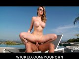 Sexy bikini-clad wife Kagney Lynn Karter sucks &amp; fucks poolside
