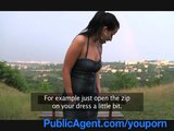 PublicAgent Busty brunette gets wet outdoors