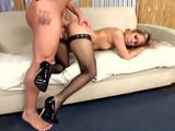 Kat anal sex in fishnet and stiletto high heels