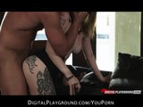 Stunning tattooed brunette has passionate rough-sex