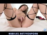 Amateur hottie rubs her hot wet pussy