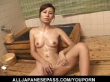 Gorgeous Japanese Cougar Nana Nanami soaps up her sexy body