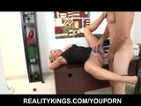 Big-tit blonde boss makes her employee suck &amp; fuck her pussy