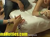 Shy amateur gets massage at the casting
