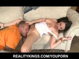 Natural big-tit MILF seduces &amp; fucks a younger man