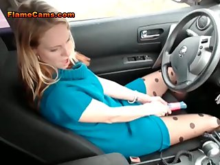 Babe Blonde Car video: Masturbating In Public